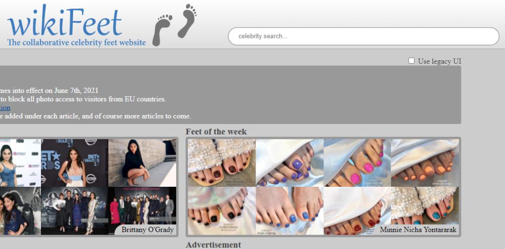 Screenshot der Startseite von Wikifeet